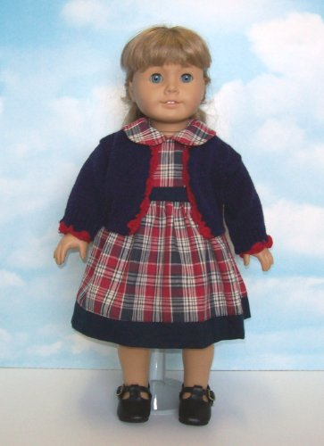 Red and Blue Plaid Dress with Cardigan Sweater. Fits 18″ Dolls like American Girl®, Baby & Kids Zone