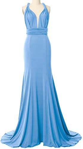 Wrap Way Blue Bridesmaid Evening Formal Maxi Macloth Sky Gown Dress Convertible Multi qC5SH