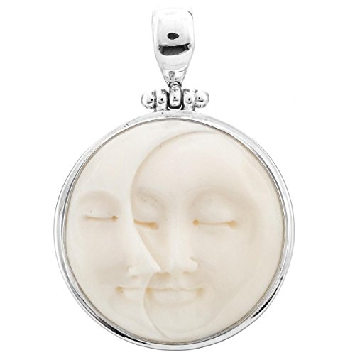 """Hand Carving Crescent Moon Sun Duo Bison Bone 925 Sterling Silver Pendant, 1 9/16"""""""