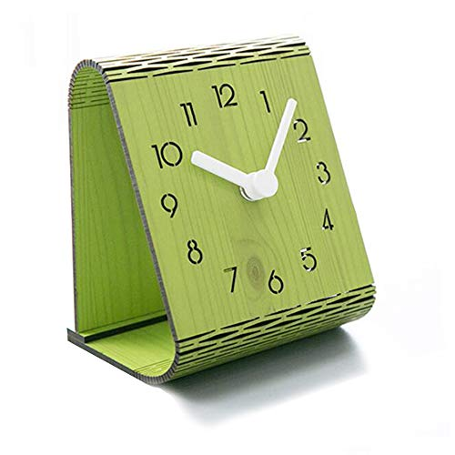 Justup Wooden Curved Table Clock, Silent Beside Clock with Non-Ticking Accurate Sweep Movement Flexible Simple Desk Mantle Clock for Home Decor (Green)