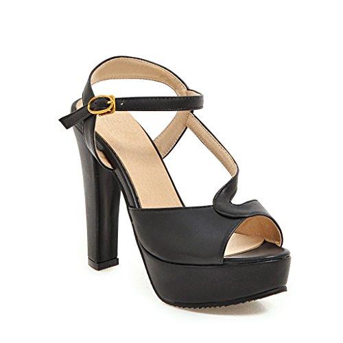 Sandalias Mujer Peep Black Toe amp;x De Tacones Qin Bloque qg0t67W