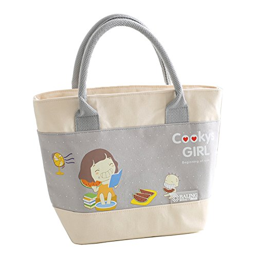 Cute Lunch Bag,Lunch Tote Bag,Lunch Bag Organizer with Padded Grab Handle(gray)