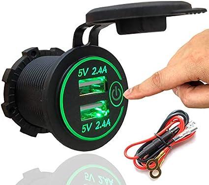 Amazon.com: Doble USB 4.2A Cargador Enchufe 12V/24V ...