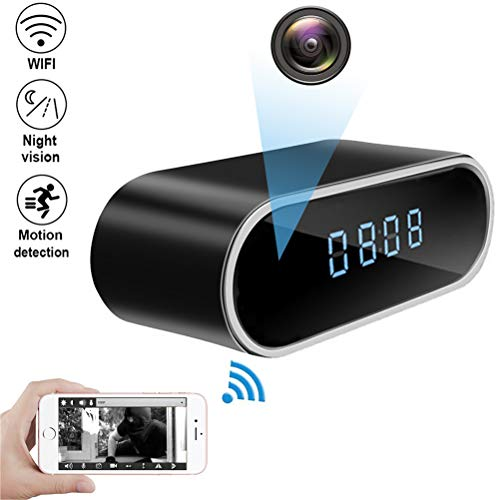 QUANDU WiFi Hidden Camera Clock Hidden Spy Clock Camera Night Vision Nanny Cam Mini Alarm Clock DVR With Motion Detection for Home Security Surveillance Apps for iOS/Android/PC/Mac ()