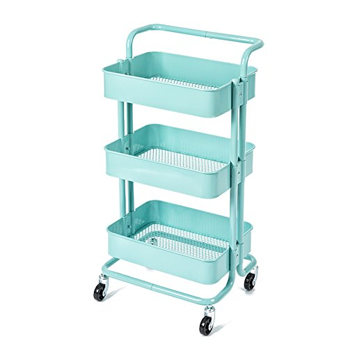 Royal 7 Handled Wagon Home Kitchen Bedroom Garden Storage Utility Rolling Organization on Wheels Cart (Turquoise)