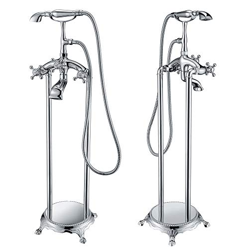 3-Handle Bathtub Faucet Filler with Hand Shower in Polished Chrome   Vintage Antique Design Floor Freestanding Handheld Sprayer and Valve   Tugela FS-AZ0052CH BY ANZZI