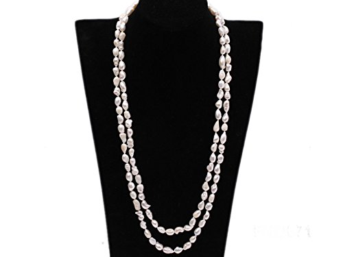JYX 8x12mm White Baroque Freshwater Pearl Necklace Endless Sweater Necklace 58