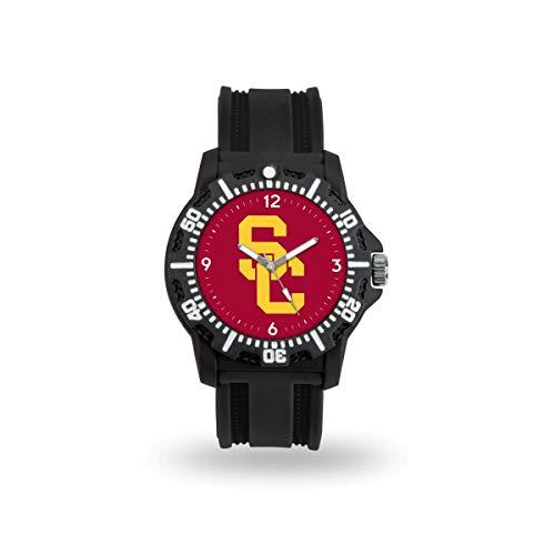 USC Trojans NCAA Black Rubber Strap Water Resistant Mens - Black Ncaa Watch