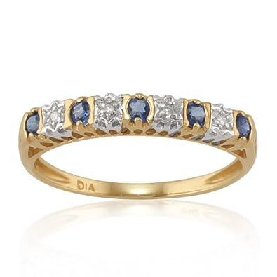 9ct Yellow Gold 0.55ct Natural Sapphire /& Diamond Half Eternity Ring