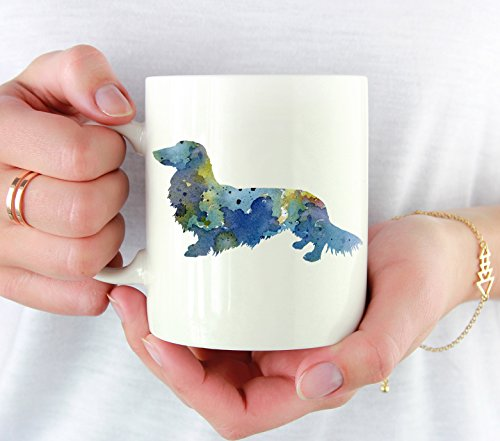 - Long Haired Dachshund Mug - Long Haired Dachshund Lover Coffee Mug - 11 oz - Unique Long Haired Dachshund Gifts