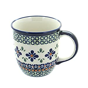 Blue Rose Polish Pottery Mosaic Flower Plain Coffee Mug