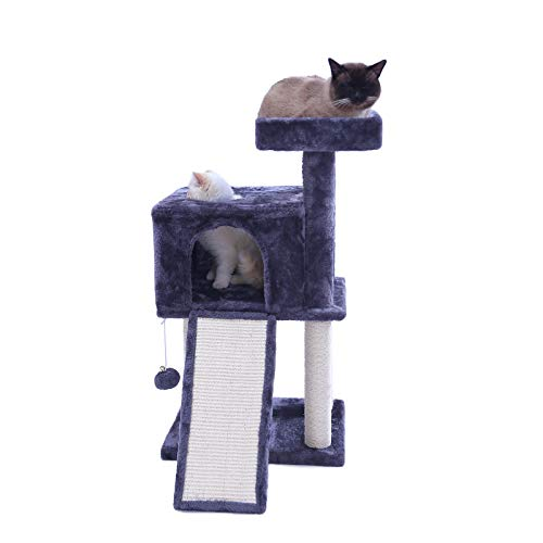 Hey-bro Multi-Level Cat Tree Condo Furniture with Sisal-Covered Scratcher Slope, Scratching Posts, Plush Perches and Condo, Activity Centre Cat Tower Furniture, 34