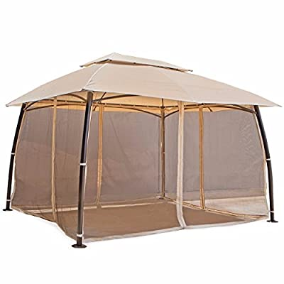 Barton 10' x 13' ft Garden Patio Gazebo Fully Enclosed All-Season UV-Resistant w/Mosquito Netting and Curtains -Beige : Garden & Outdoor