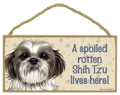 (SJT ENTERPRISES, INC. A Spoiled Rotten Shih Tzu (Puppy Cut) Lives here Wood Sign Plaque 5