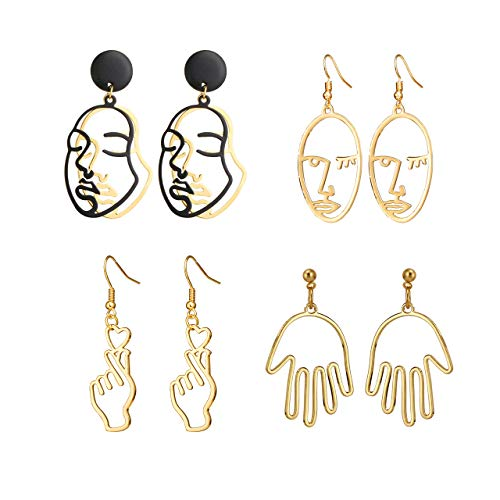 Top Plaza Face Abstract Gold Fun Statement Dangle Drop Earrings Fashion Hollow Face Hand Shape Hoops Stud Earrings for Women Teens Girls - Set of 4