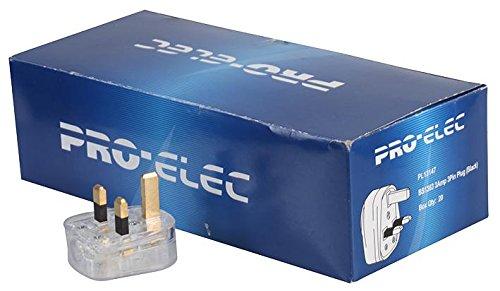 Pro Elec Mains Plug,Transparent,13A Fuse, Box X20 by Cable Guy Direct 9518-13A 20/BOX