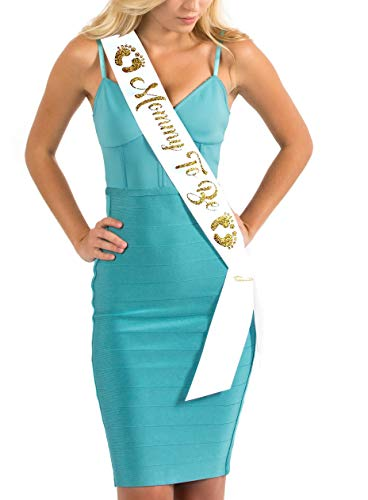 Dulcet Downtown White Satin Baby Shower Sash - Mommy To Be - Encased Glitter Lettering (White/Gold)]()