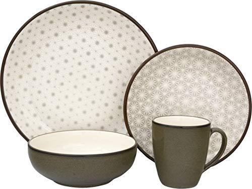 Sango 3319GY800ACM24 Celestial 16-Piece Stoneware Dinnerware Set, Gray
