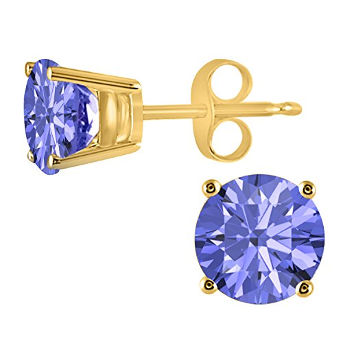 1.00ctw Round Created Tanzanite Cute Belle Princess Stud Earrings IN 14k Yellow Gold Finish 14k Yellow Gold Tanzanite Earrings