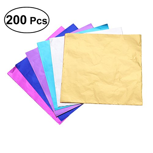 Paper Wrapping Chocolate (BESTONZON 200pcs Metallic Foil Paper Sheets Gift Package Wrapping Paper for Packaging Chocolate Candy Bath Bombs (Mixed Color))