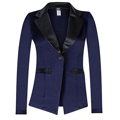Contenta Women's Tuxedo Blazer. Dressy Long Sleeve PU Contrast Lapel Jacket. (Small, Navy/Black) -