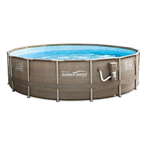 - Summer Waves 16 Foot Elite Frame Swimming Pool with Exterior Wicker Print, Brown