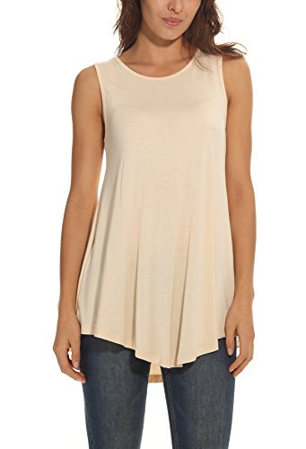 POSESHE Womens Basic Causal Tunic Top Mini T-shirt Dress Beige L