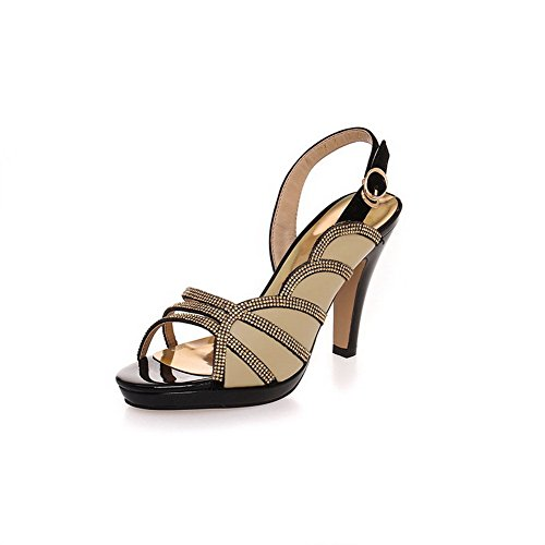 AllhqFashion Womens Open Round Toe Cow Leather Solid Sandals with Glass Diamond and Floriation Khaki