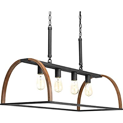 Progress Lighting P4720-71 Transitional Four Light Island Pendant from Trestle Collection in Two-Tone Finish, 32.50 inches, Gilded Iron - Four Light Island Pendant from the Trestle collection Item Size: Length: 32. 50 inches Height: 20. 38 inches Width: 15. 00 inches Style: Transitional Light Type: Chandeliers - kitchen-dining-room-decor, kitchen-dining-room, chandeliers-lighting - 41SzqO%2BipsL. SS400  -