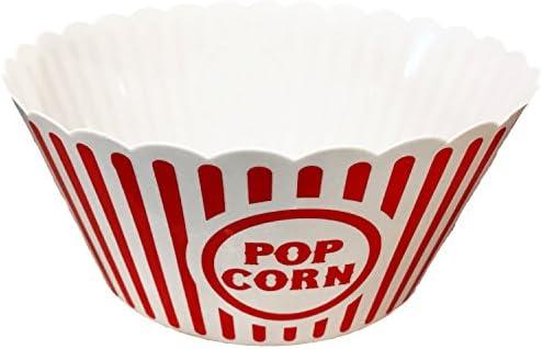 6 Popcorn Buckets Large Size 10 X 4.75 Popcorn Serving Bowls Popcorn Tub by Black Duck Brand