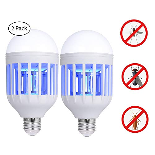 (2 packs)Bug Zapper Light Bulb, 2 in 1 Electronic Insect Killer, Mosquito Zapper Lamp, Fly Killer, Built in Insect Catcher Trap LED Night Lamp Suit for Indoor Outdoor Home Garden (Bug Zapper Lamps)