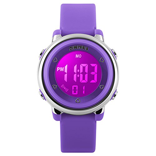 Girls Watches IWOCH Boys Watches, LED Digital Sports Waterproof Digital Watch for Baby Ages 4-5 5-7 Purple