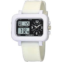 Very Sweet Children Girls Digital Waterproof Digital Analog Watches with Alarm Chronograph White