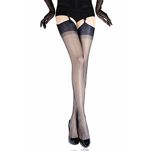 (Gio Women's Cuban heel FF stockings - FULL CONTRAST - XXL - size 12.5 12.5 (6'4-6'6, 193-198 cm, uk shoe 11-12, leg 35