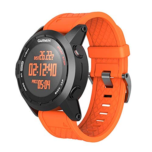 ANCOOL for Garmin Fenix 2 Band 26mm Replacement Silicone Smart Watch Band Compatible with Fenix 2 Watch (Orange)