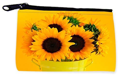 Sam Sandor - Zipper Coin Pouch - Camera Case - MP3 Case - Beautiful Sunflowers in Yellow Pail
