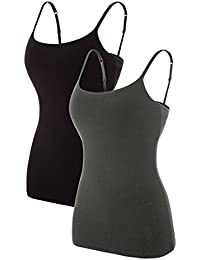 Women Cotton Camisoles Shelf Bra Tank Tops Basic Cami Top 2 Pack