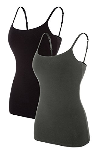 Sociala Camisole for Women with Shelf Bra Layering Cami Tank Tops Black Grey M