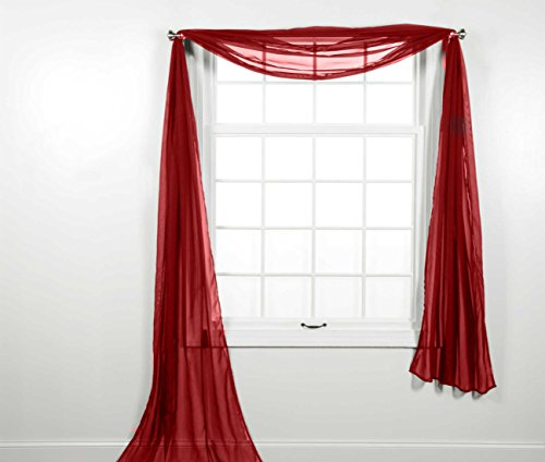 CURTAIN ONLINE'S 1PC VOILE SHEER WINDOW SCARF SWAG TIER TOPPER VALANCE IN 36X216