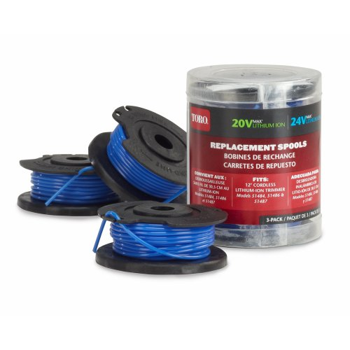 Toro 88524 3-Pack Replacement Spools Trimmers, 20/24-volt, 12-Inch (Toro Replacement Spool)