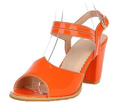 VogueZone009 Women Patent Leather Peep-Toe Kitten-Heels Buckle Solid Sandals Orange