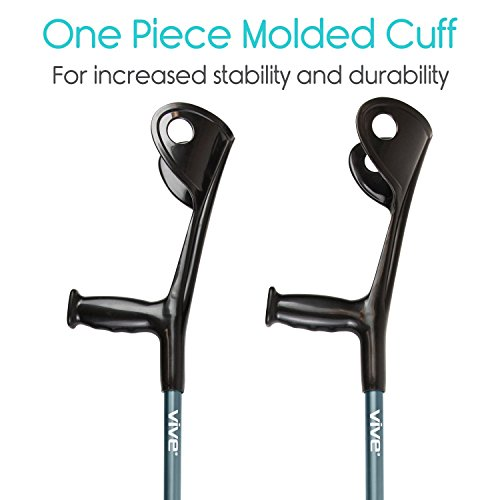 Vive Forearm Crutches (Pair) - Lightweight Arm Cuff Crutch - Adjustable, Ergonomic, Heavy Duty for Standard and Tall Adults - Comfortable on Wrist - Molded, Non Skid Replaceable Rubber Tips
