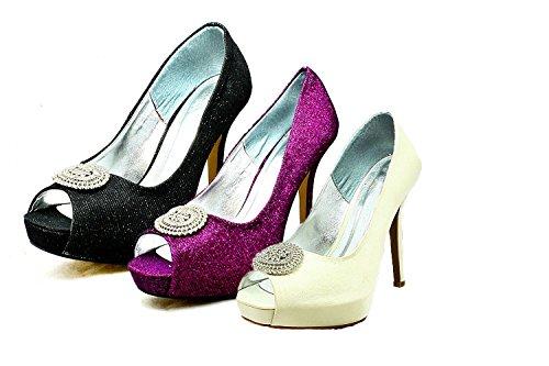 Satén de las señoras zapatos de la boda del dedo del pie del pío plataforma oculta con gran broche Purple