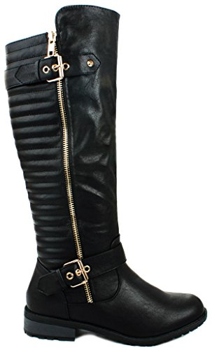 mango-20-black-dual-gold-decorative-zipper-buckle-quilted-motorcycle-riding-knee-high-boots-75