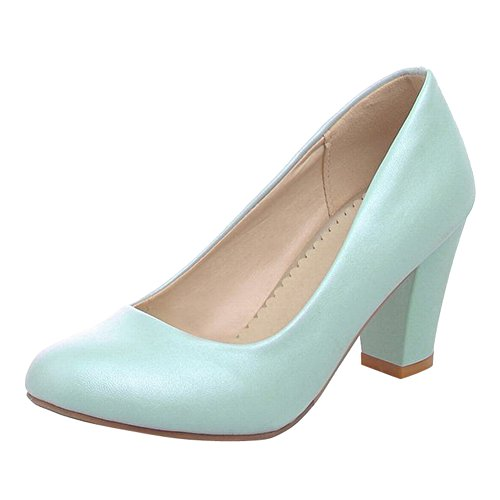 Carol Shoes Women's Concise Single Color High Heel Court Shoes Blue Ig3MVz