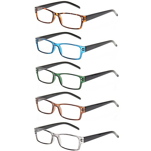Reading Glasses 5 Pairs Spring Hinge Man and Women Plasitic Material Readers (5 Pack Mix Color, 2.25) ()