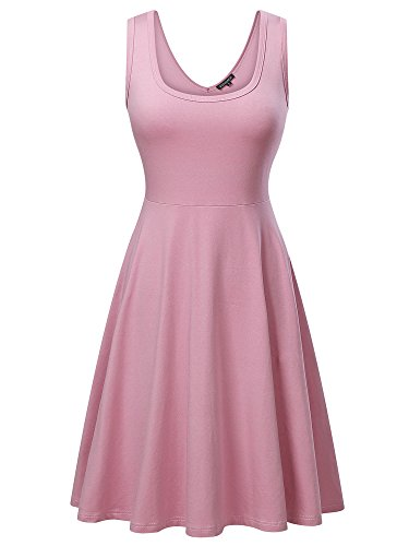 FENSACE Womens Sleeveless Scoop Neck Summer Beach Midi A Line Tank Dress, Pink, Medium