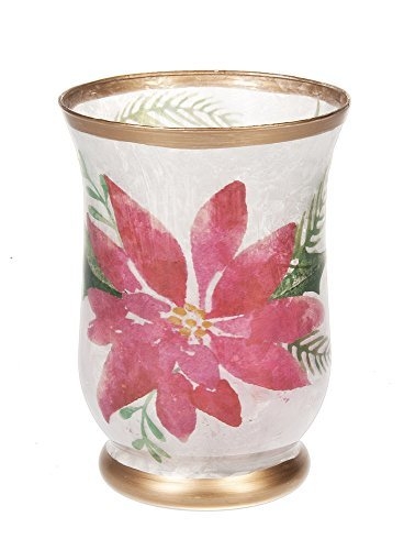 Beauty of Christmas Poinsettia Glass LED Lights 5.5 x 7.5 Inch Light Up Candle Holder