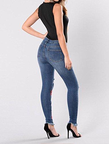 Trousers Fashion Crayon Denim Femmes Trou Marin Stretch Pantalons Pants Jeans Bleu Broderie Skinny Cass gHwvxUH
