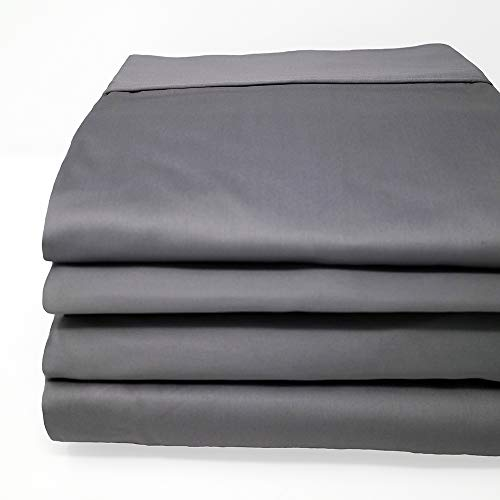 CinchFit Maine Made Sheets - The Only Stay On and Not Tear Design - Cinches to Fit & Won't Pop Off! - Adjustable Bed Sheet - 600 TC Sheet Set 100% Cotton (Grey, Split Flex Top King)